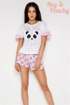 Hey Peachy Too Cute To Care Panda Short Pyjama Set