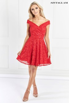 Sistaglam Sequin Lace Skater Dress