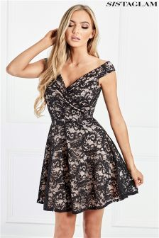 Sistaglam Lace Skater Dress With Contrast Lining