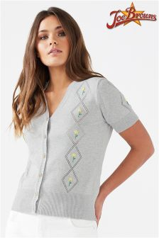 Joe Browns Womens Vintage Short Sleeved Cardigan With Floral Embroidery