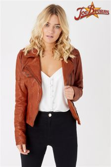 Joe Browns Off Centre Zip Up Leather Jacket