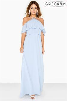 Girls On Film Bardot Frill Maxi Dress