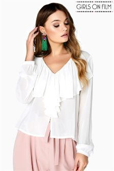 Girls On Film Frill Front Blouse