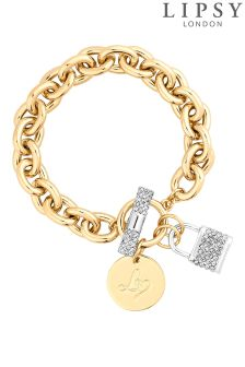 Lipsy 2 Tone Linked T Bar Bracelet With Pave Padlock