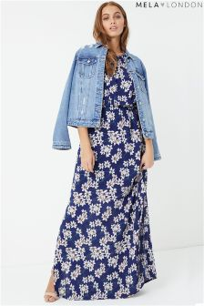 Mela London Floral High Neck Maxi Dress