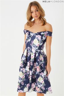 Mela London Floral Printed Bardot Prom Dress
