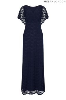 Mela London Wrap Front Lace Maxi Dress