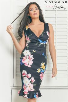 Sistaglam Loves Jessica Floral Print Ruched Wrap Dress
