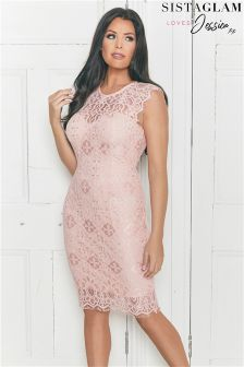 Jessica Wright Scallop Detail Lace Bodycon Dress