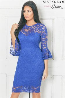 Jessica Wright Bell Sleeve Lace Bodycon Dress