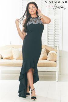 Sistaglam Loves Jessica Insert Lace Frill Hem Bodycon Dress