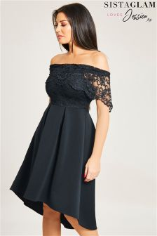 Jessica Wright Bardot Lace Skater Dress