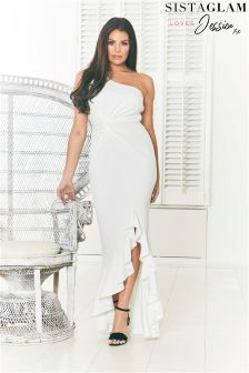 Sistaglam Loves Jessica One Shoulder Frill Maxi Dress