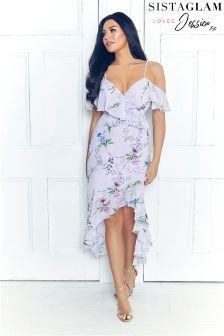 Jessica Wright Floral Print Frill Maxi Dress