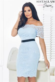Sistaglam Loves Jessica Lace Frill Bardot Midi Dress