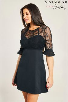 Jessica Wright 2 In 1 Lace Top and Jersey Skirt Skater Dress