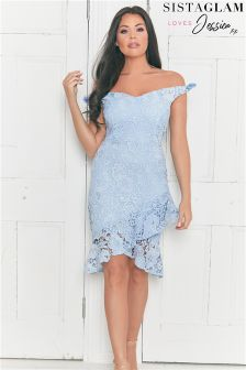 Jessica Wright Bardot Crochet Lace Dress With Asymmetric Frill Hem