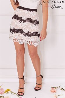 Sistaglam Loves Jessica Crochet Mixed Lace Short Skirt