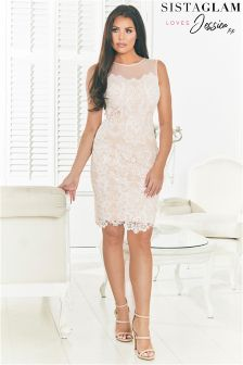 Sistaglam Loves Jessica Sequin Lace Midi Dress