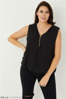 Mela London Curve Two Zip Sleeveless Blouse