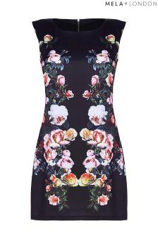 Mela London Curve Placement Floral Bodycon Dress