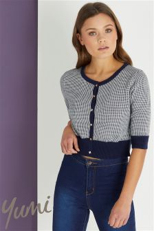 Yumi Mini Check Stitch Cardigan