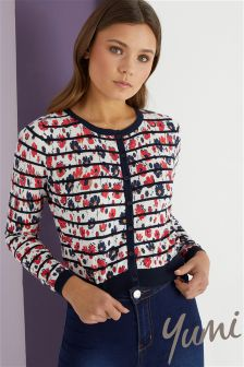Yumi Striped Floral Print Cardigan