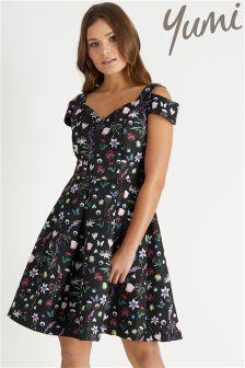 Yumi French Botanical Jacquard Prom Dress