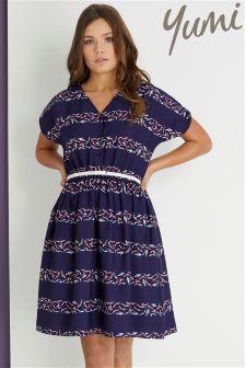Yumi Stripe Cold Shoulder Dress