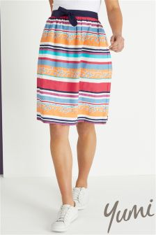 Yumi Vacation Stripe Midi Skirt