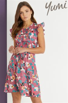 Yumi Ladder Front Floral Day Skater Dress