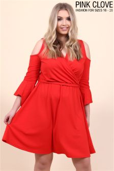 Pink Clove Wrap Over Cold Shoulder Dress