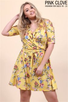 Pink Clove Plus Floral Wrap Over Dress