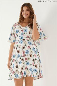 Mela London Curve Floral Fluted Sleeve Dress