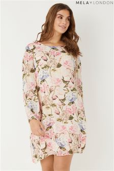 Mela London Curve Rose Print Tunic Dress