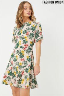 Fashion Union Tropical Leaf Print Backless Skater Dress