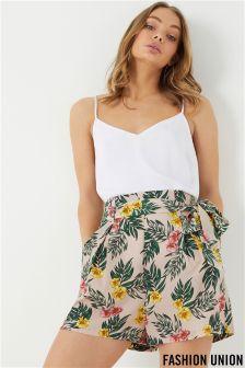 Fashion Union Tropical Leaf Print Paperbag Shorts