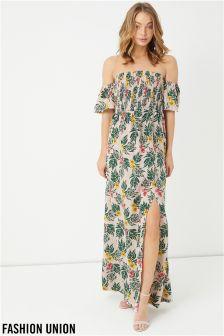 Fashion Union Floral Bardot Maxi Dress