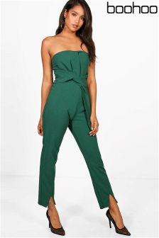 Boohoo Patty Twist Bandeau Style Jumpsuit