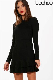 Boohoo Lucy Ruffle Hem Long Sleeve Dress