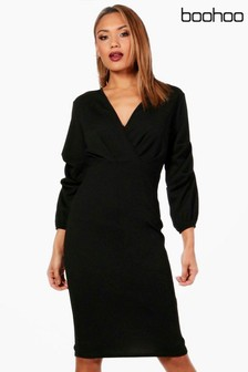 Boohoo Lily Volume Sleeve Midi Dress