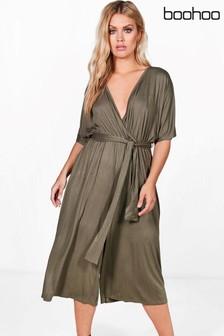 Boohoo Plus Lisa Jersey Kimono Sleeve Wrap Jumpsuit