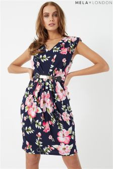 Mela London Tropical Floral Belted Dress