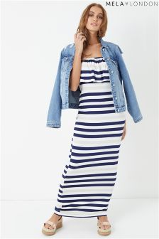Mela London Striped Bardot Maxi Dress
