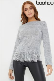 Boohoo Lace Hem Knitted Top