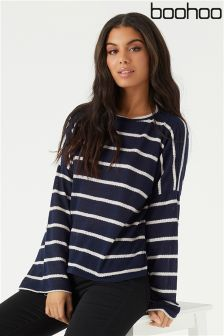 Boohoo Knitted Stripe Flare Sleeve Top