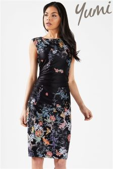 Yumi Side Ruched Floral Bodycon Dress