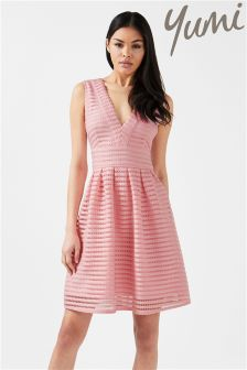 Yumi Fishnet V neck Dress