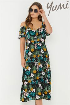 Yumi Pineapple Printed Cold Shoulder Dress