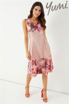 Yumi Watercolour Boarder Teill Party Dress